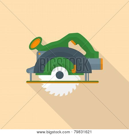 flat style electric hand circular saw icon with shadow