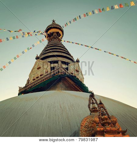 Buddhist Shrine Swayambhunath Stupa - Vintage Filter.