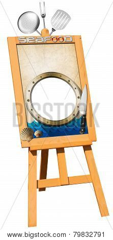 Seafood Menu - Wooden Signboard On Easel