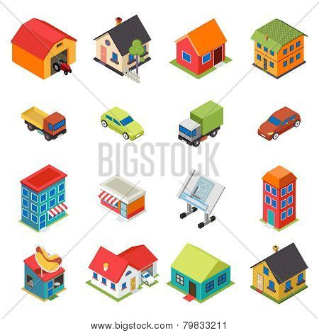 Isometric House Real Estate Car Icons Retro Flat Symbols Set Isolated Vector Illustration