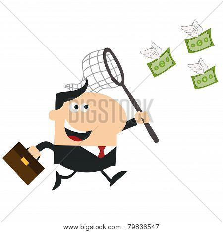 Manager Chasing Flying Money With A Net.Flat Design Style Raster Illustration Isolated On Whit