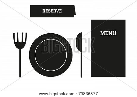 Set Of 5 Isolated Restaurant Icons