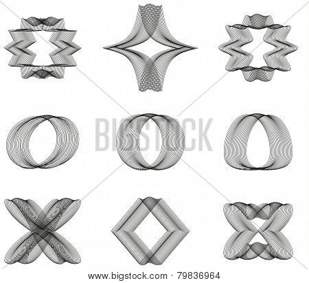Collection Of 9 Abstract Line Ornaments