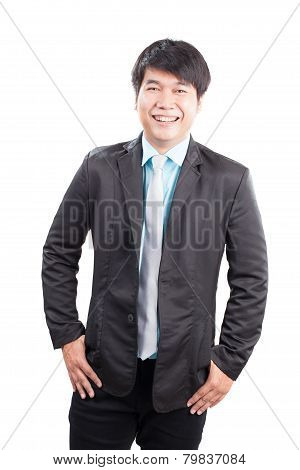 Portrait Of Young Business Man Wearing Western Suit Smiling With Happiness Emotion Isolated White Ba