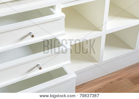 Close Up Of Open Wooden Drawer