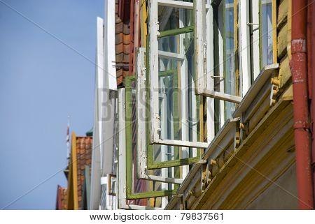 coloful windows of Bryggen, the landmark of Bergen - Norway