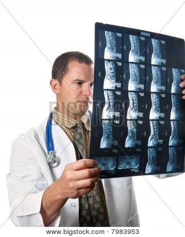 Doctor Examining Film Scans