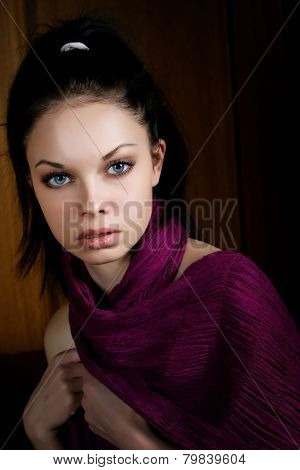 The Girl With A Violet Scarf In An Interior