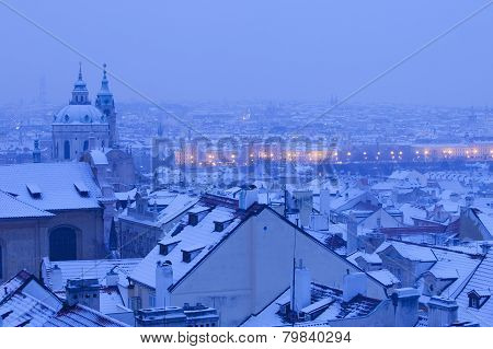 Prague - St. Nicolas Church And Rooftops Of Mala Strana