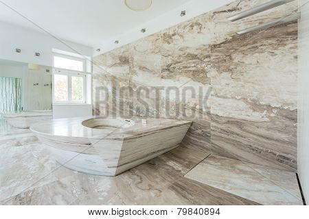 Luxury Bathroom With Marble Tiles