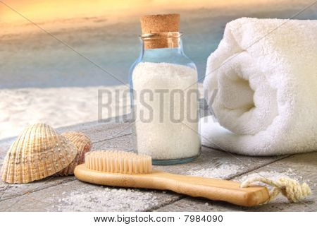Sea Salt With Towel At The Beach