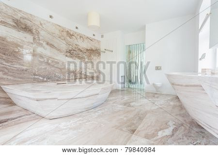 Marble Tiles At The Bathroom