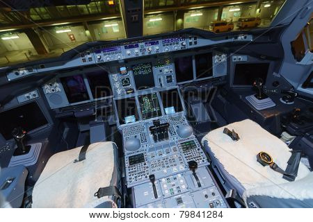 BANGKOK, THAILAND - NOV 07: Emirates Airbus A380 aircraft cockpit interior on November 07, 2014. Emirates is the largest airline in the Middle East.