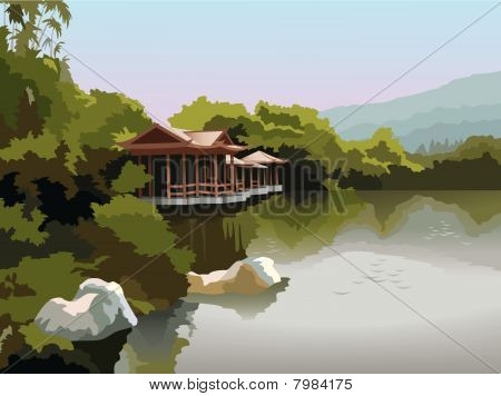 Pagoda on the lake shore, vector