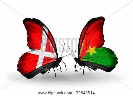 Two Butterflies With Flags On Wings As Symbol Of Relations Denmark And Burkina Faso