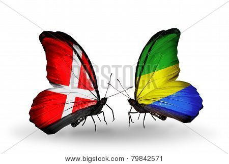 Two Butterflies With Flags On Wings As Symbol Of Relations Denmark And Gabon