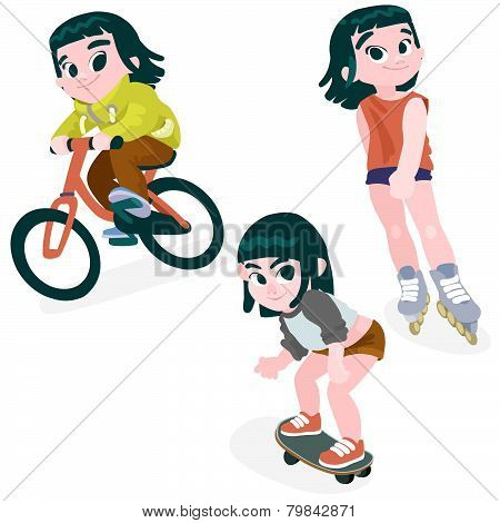 Little Girl On A Bike, Rollerblading, Skateboarding