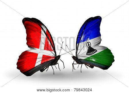 Two Butterflies With Flags On Wings As Symbol Of Relations Denmark And Lesotho