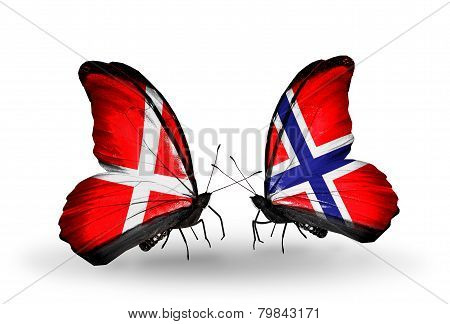 Two Butterflies With Flags On Wings As Symbol Of Relations Denmark And Norway
