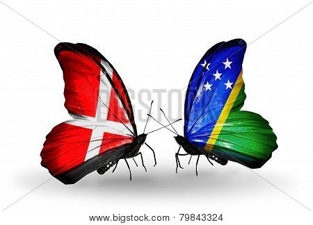 Two Butterflies With Flags On Wings As Symbol Of Relations Denmark And Solomon Islands