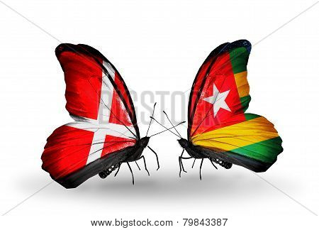 Two Butterflies With Flags On Wings As Symbol Of Relations Denmark And Togo