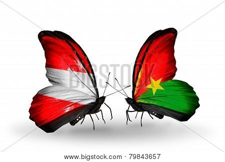 Two Butterflies With Flags On Wings As Symbol Of Relations Austria And Burkina Faso