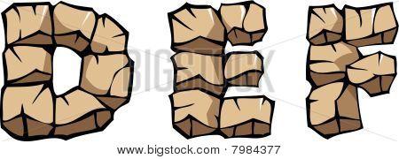 Alfabeto de pedra: DEF
