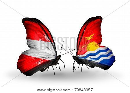 Two Butterflies With Flags On Wings As Symbol Of Relations Austria And Kiribati