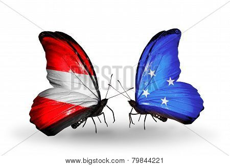 Two Butterflies With Flags On Wings As Symbol Of Relations Austria And Micronesia