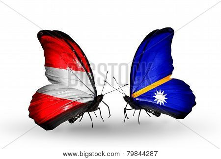 Two Butterflies With Flags On Wings As Symbol Of Relations Austria And Nauru
