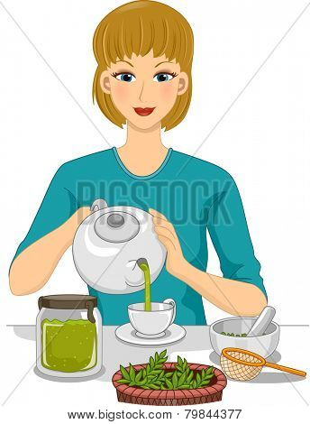 Illustration of a Woman Preparing Organic Tea