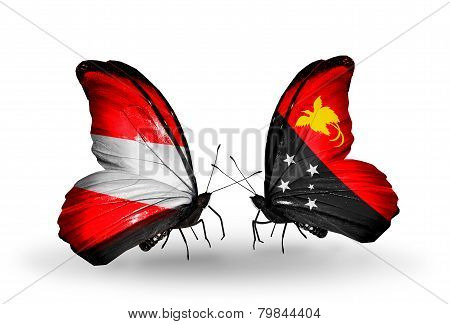 Two Butterflies With Flags On Wings As Symbol Of Relations Austria And Papua New Guinea