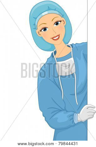 Illustration of a Female Doctor in a Scrub Suit Holding a Blank Board