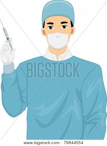 Illustration of a Surgeon in a Scrub Suit Holding a Syringe