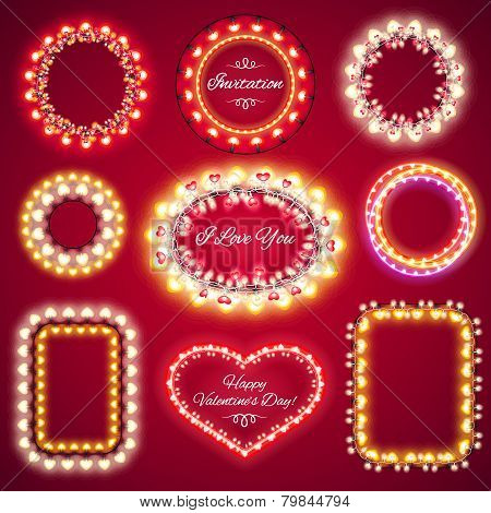 Valentines Lights Frames with a Copy Space Set1