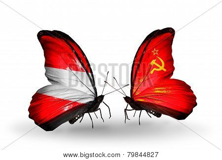 Two Butterflies With Flags On Wings As Symbol Of Relations Austria And Soviet Union