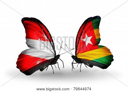 Two Butterflies With Flags On Wings As Symbol Of Relations Austria And Togo