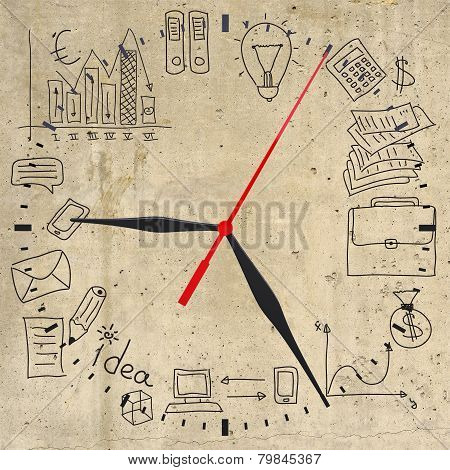 Business concept drawing around clock dial
