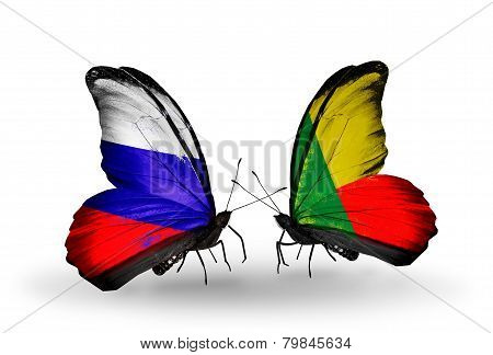 Two Butterflies With Flags On Wings As Symbol Of Relations Russia And Benin