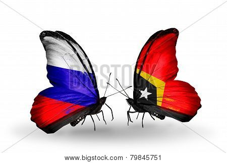 Two Butterflies With Flags On Wings As Symbol Of Relations Russia And East Timor