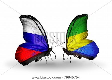 Two Butterflies With Flags On Wings As Symbol Of Relations Russia And Gabon