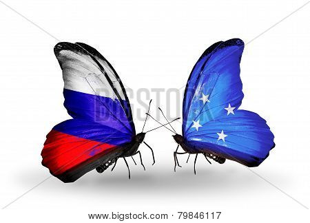 Two Butterflies With Flags On Wings As Symbol Of Relations Russia And Micronesia