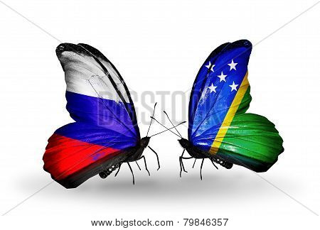 Two Butterflies With Flags On Wings As Symbol Of Relations Russia And Solomon Islands