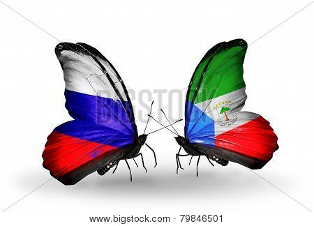 Two Butterflies With Flags On Wings As Symbol Of Relations Russia And Equatorial Guinea