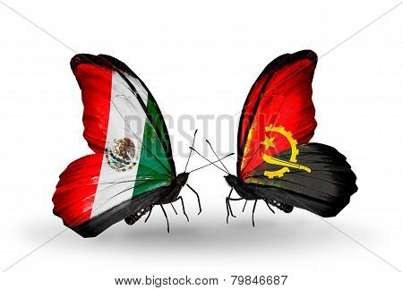 Two Butterflies With Flags On Wings As Symbol Of Relations Mexico And Angola