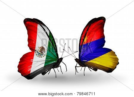 Two Butterflies With Flags On Wings As Symbol Of Relations Mexico And Armenia
