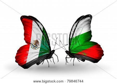 Two Butterflies With Flags On Wings As Symbol Of Relations Mexico And Bulgaria