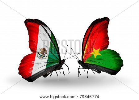 Two Butterflies With Flags On Wings As Symbol Of Relations Mexico And Burkina Faso