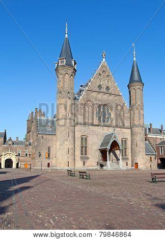 Famous parliament and court building complex Binnenhof in Hague