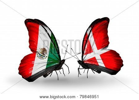 Two Butterflies With Flags On Wings As Symbol Of Relations Mexico And Denmark